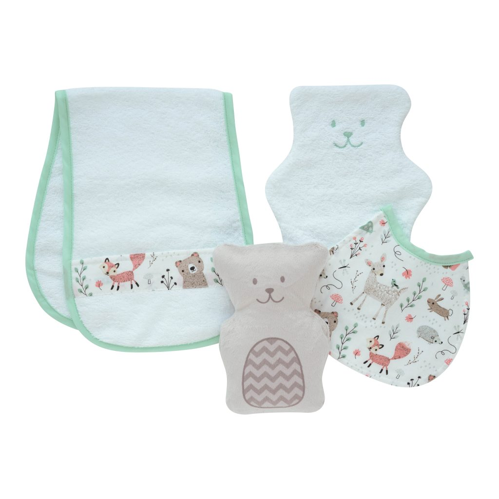 Béké-Bobo's gift set : therapeutic bear, washcloth, bath towel and bib