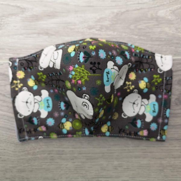 couvre visage pour enfant, masque léger en coton, facile pour respirer avec élastiques ajustables et insert pour filtre. Motifs d'oursons sur fond gris