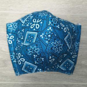 Couvre visage, Masque de protection ADULTE bandana bleu AJUSTABLE derrière les oreilles, anti-projection, lavable, Fabriqué au Québec Anti-splash ADULT blue bandana, protection medical mask washable