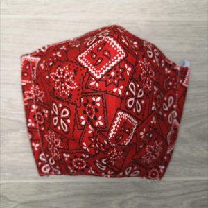 couvre-visage Masque de protection ADULTE bandana rouge AJUSTABLE, anti-projection, lavable, Fabriqué au Québec