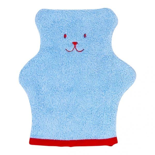 gant toilette bleu